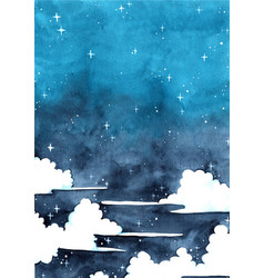 Cloud sky at night watercolor hand painting backgr vector