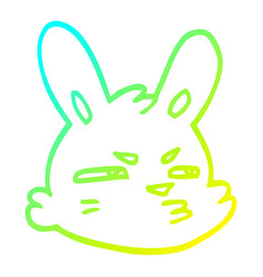 Cold gradient line drawing cartoon moody rabbit vector