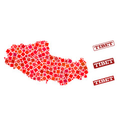 Collage of red mosaic map of tibet and grunge vector