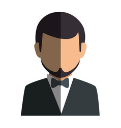 Colorful silhouette faceless half body man formal vector