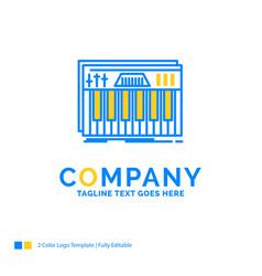Controller keyboard keys midi sound blue yellow vector