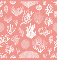 corals and algae seamless pattern pink background vector image