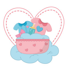 cradle with baclothes vector image
