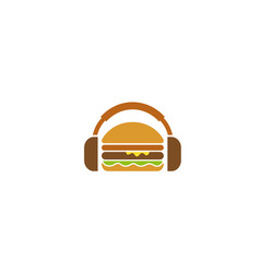 creative burger headphone logo design symbol vector image