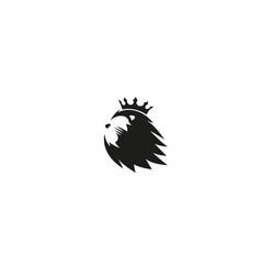 Creative lion crown head logo vector