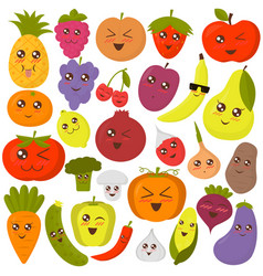 cute vegetables and fruits vector image