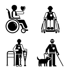 day persons disabilities icon set simple style vector image