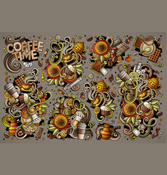 doodle cartoon set of tea and coffee vector image
