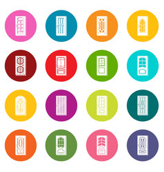 door icons set colorful circles vector image