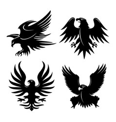eagle head wing fly logo black icon tattoo vector image