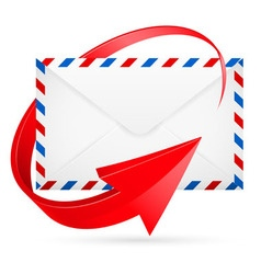 Envelope with red arrow around vector image