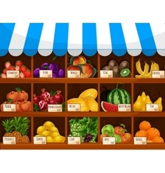 Fruit market showcase stand with fruits vector