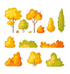 garden yellow bush and trees vector image