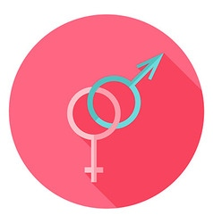 Gender Sex Sign Circle Icon with long Shadow vector