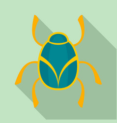 golden bug icon flat style vector image