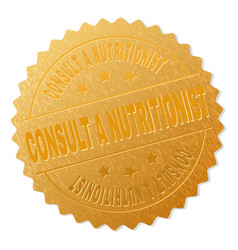 Golden consult a nutritionist medal stamp vector