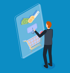 guy in dark clothes selects and puts purchases vector image