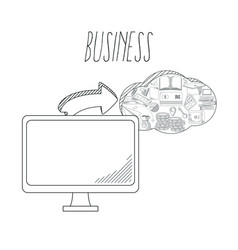 hand draw business concept vector image