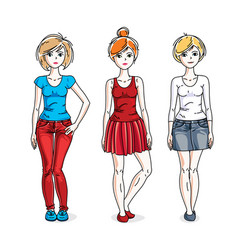 Happy young women group standing wearing casual vector