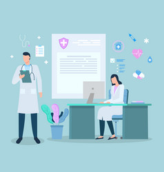 Hospital or clinics with doctors and scientists vector