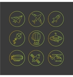 Icon set of aircraft vector