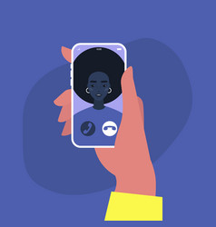 incoming video call a portrait a young african vector image