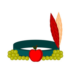 indian hat with an apple and grapes vector image