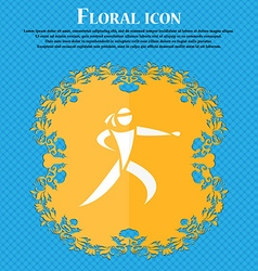 Karate kick icon Floral flat design on a blue vector
