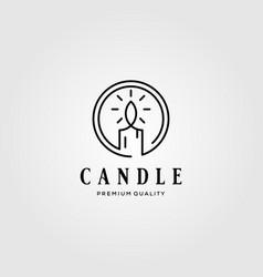 Line art candle light vintage flame logo design vector