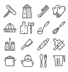 line kitchen utensil tool collection vector image