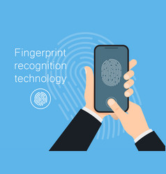 man hold mobile phone to unlock with finger vector image