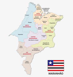 Maranhao administrative map with flag vector