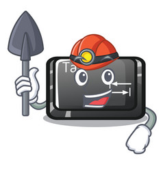 Miner tab button attached to cartoon keyboard vector