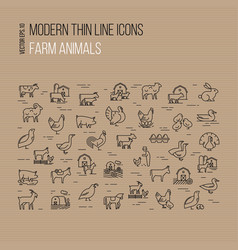 Modern thin line icons set farm animals vector