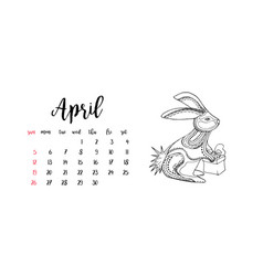 Monthly desk calendar template for month april vector