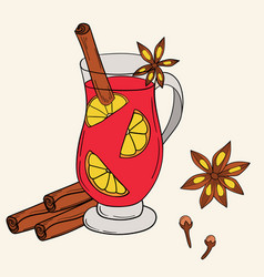 Mulled wine in cartoon style vector