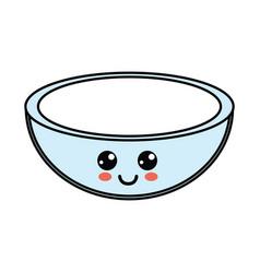 nice bowl kawaii to prepare salad vector image