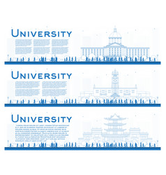 outline set of university campus study banners vector image