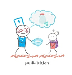 pediatrician says about the pills and give vector image vector image