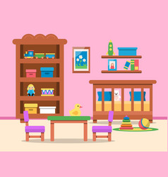 Picture of kids room interior bed table vector