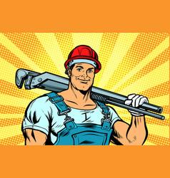 Pop art plumber worker with adjustable wrench vector