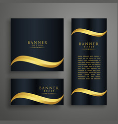 premium clean banners or cards design with golden vector image