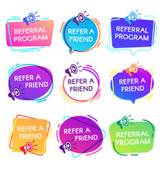 Refer friend badges referral program badge vector