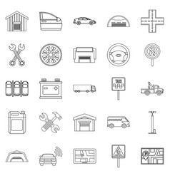 Reservoir icons set outline style vector