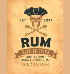Retro banner on theme good rum vector