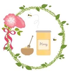 Romantic Wreath Rose Flower Bio Honey Bee Gold vector image