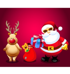 Santa and Christmas Gifts with Rain Deer vector image