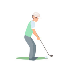 satisfied golf player ready kick ball isolate on vector image