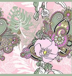 Seamless artistic flower pattern beautiful vector