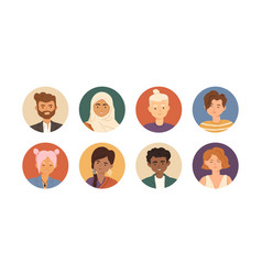 Set diverse young people avatars with happy vector